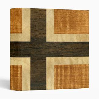 Norwegian Flag Wood Norsk Flagg - kongeriket Norge 3 Ring Binder