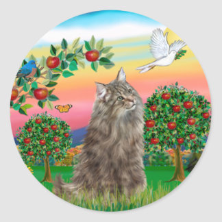 Norwegian Forest Cat - Bright Country Classic Round Sticker