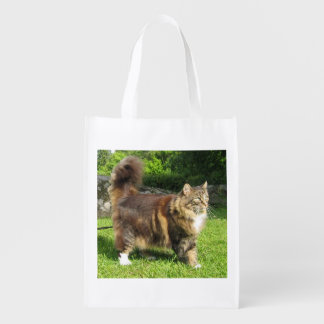 norwegian forest cat full.png reusable grocery bag