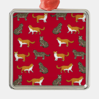Norwegian forest cat selection Silver-Colored square ornament