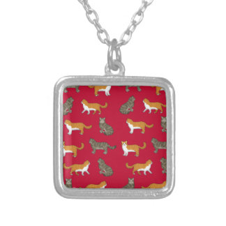 Norwegian forest cat selection silver plated necklace