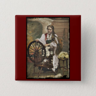 Norwegian Girl at a Spinning Wheel 2 Inch Square Button