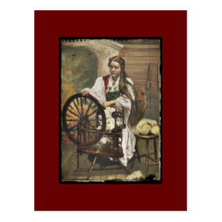 Norwegian Girl at a Spinning Wheel Postcard