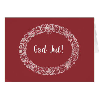Norwegian Greeting Christmas Wreath White Deep Red Card
