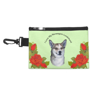 Norwegian Lundehund and Red Roses Accessory Bag