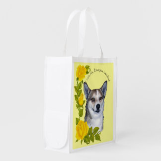 Norwegian Lundehund and Yellow Roses Reusable Grocery Bags