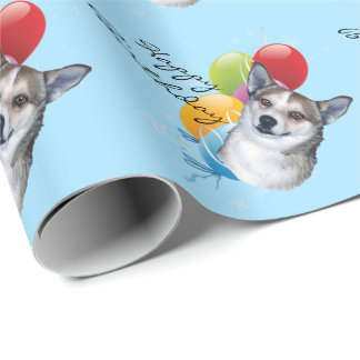 Norwegian Lundehund, Happy Birthday w/balloons Wrapping Paper