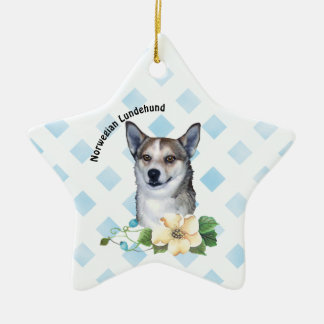Norwegian Lundehund on Blue basket weave foral Ceramic Ornament
