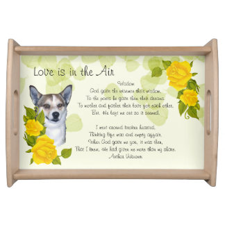 Norwegian Lundehund on Green Leaves w/Yellow Roses Serving Tray