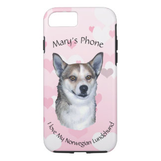 Norwegian Lundehund on Pink with White Hearts iPhone 8/7 Case