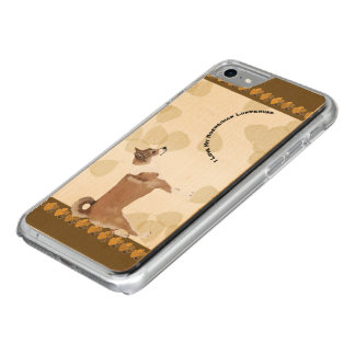 Norwegian Lundehund on Tan Leaves with Pawprints Carved iPhone 8/7 Case