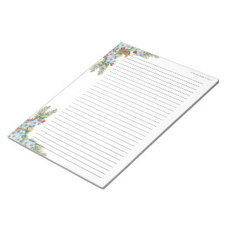 Norwegian Lundehund on Winter Floral [lined] Notepad