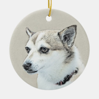 Norwegian Lundehund Painting - Original Dog Art Ceramic Ornament