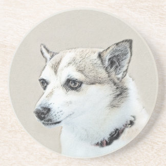 Norwegian Lundehund Painting - Original Dog Art Coaster