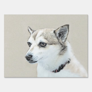 Norwegian Lundehund Painting - Original Dog Art Sign