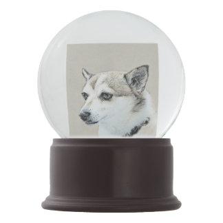 Norwegian Lundehund Painting - Original Dog Art Snow Globe
