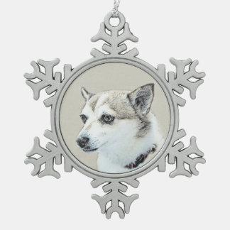 Norwegian Lundehund Painting - Original Dog Art Snowflake Pewter Christmas Ornament