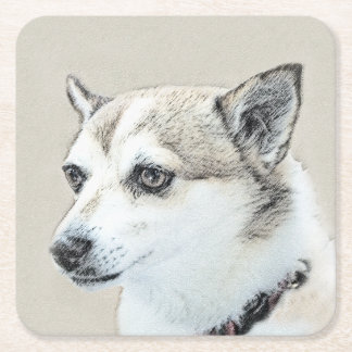 Norwegian Lundehund Painting - Original Dog Art Square Paper Coaster