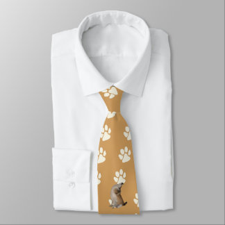 Norwegian Lundehund, white paw prints on old gold Tie