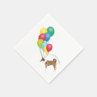 Norwegian Lundehund with Balloons Disposable Napkin