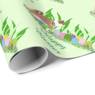 Norwegian Lundehund with Grass and Eggs Wrapping Paper