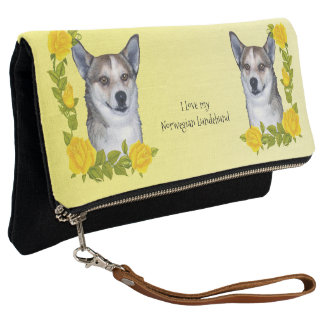 Norwegian Lundehund with Yellow Roses Clutch