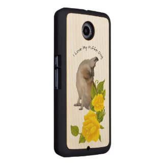 Norwegian Lundehund with Yellow Roses on Maple Wood Phone Case
