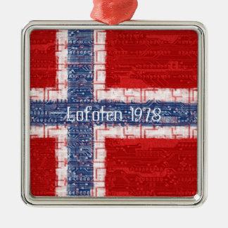 Norwegian Motherboard Theme Silver-Colored Square Ornament