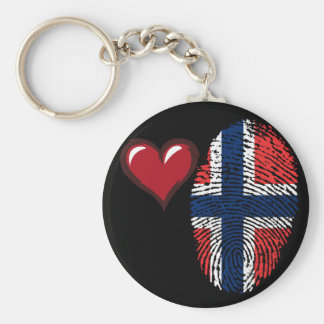 Norwegian touch fingerprint flag basic round button keychain
