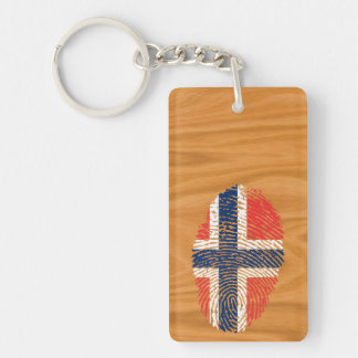 Norwegian touch fingerprint flag Double-Sided rectangular acrylic keychain