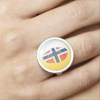 Norwegian touch fingerprint flag ring