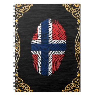 Norwegian touch fingerprint flag spiral notebook