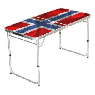 Norwegian waving flag beer pong table