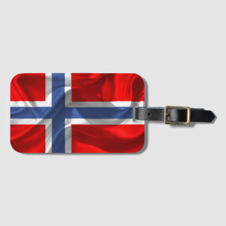 Norwegian waving flag luggage tag
