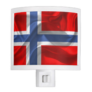 Norwegian waving flag night lights