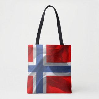 Norwegian wavy flag tote bag
