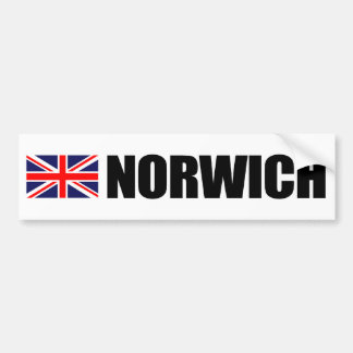 Norwich, British Flag Bumper Sticker