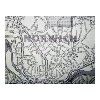 Norwich, CT Vintage Map Poster
