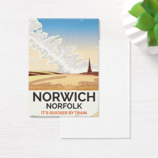 Norwich, Norfolk vintage style rail travel poster Business Card