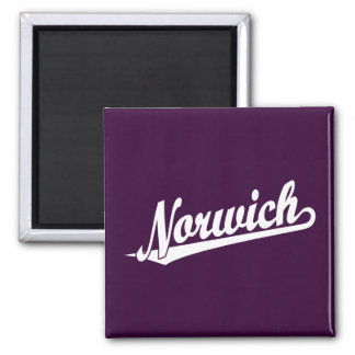 Norwich script logo in white square magnet