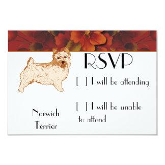 """Norwich Terrier - Autumn Flower Design 3.5"""" X 5"""" Invitation Card"""