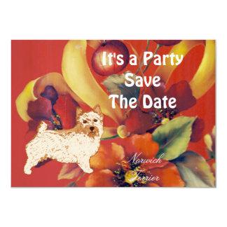"""Norwich Terrier - Autumn Flower Design 4.5"""" X 6.25"""" Invitation Card"""