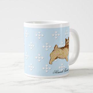 Norwich Terrier - Blue w/ White Diamond Design Jumbo Mug