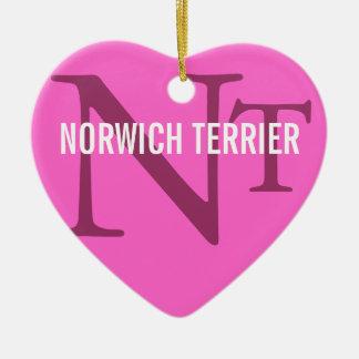 Norwich Terrier Breed Monogram Ceramic Heart Ornament