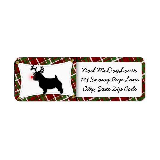 Norwich Terrier Christmas Return Address Label