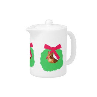 Norwich Terrier Christmas WreathTeapot