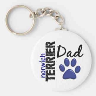 Norwich Terrier Dad 2 Basic Round Button Keychain