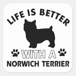 Norwich Terrier dog breed designs Square Sticker