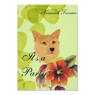 """Norwich Terrier ~ Green Leaves Designs 3.5"""" X 5"""" Invitation Card"""