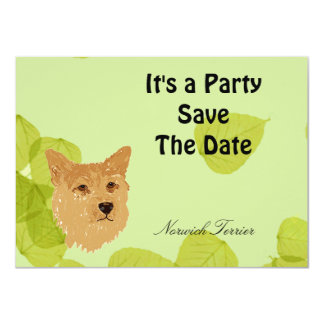 """Norwich Terrier ~ Green Leaves Designs 4.5"""" X 6.25"""" Invitation Card"""